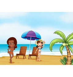 Two ladies wearing bikinis at the beach vector image