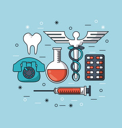 color background with medical icons and blood vector image vector image