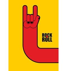 Hand rock and roll sign Poster for rock festival vector image vector image