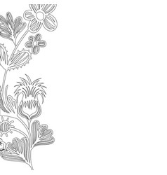 line natural rustic flowers with petals and leaves vector image vector image