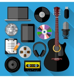 Music icons bundle vector image vector image