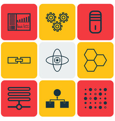 set of 9 robotics icons includes controlling vector image vector image