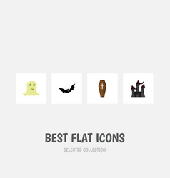 flat icon halloween set of superstition fortress vector image vector image