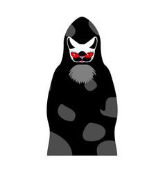 grim reaper cat death with cats head pet in hood vector image