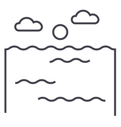 ocean line icon sign on vector image