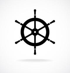 Yacht wheel symbol Helm silhouette vector image