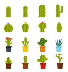 different cactuses icons set in flat style vector image