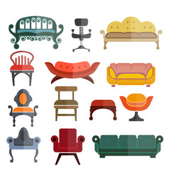furniture seats or chairs isolated flat vector image