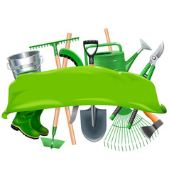 green banner with garden tools vector image vector image