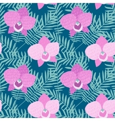 Hand drawn seamless pattern with Phalaenopsis pink vector image vector image