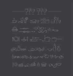 line style icon set food and dish picto vector image vector image