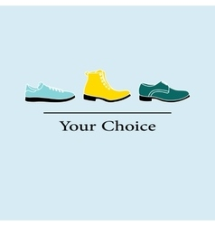men fashion shoes to choose vector image vector image