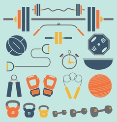Retro Color Flat Gym and Workout Equip vector image vector image