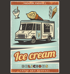 vintage colored fresh ice cream poster vector image