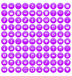 100 wealth icons set purple vector