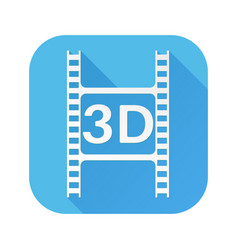 3d film cut white sign on blue square icon vector image