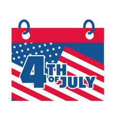 4th july independence day calendar date vector