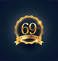 69th anniversary celebration badge label in vector image