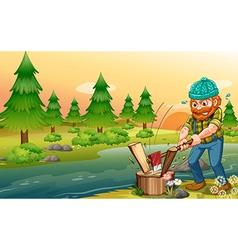 A man chopping woods at riverbank vector