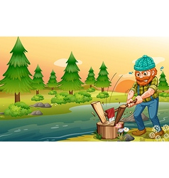 A man chopping woods at the riverbank vector