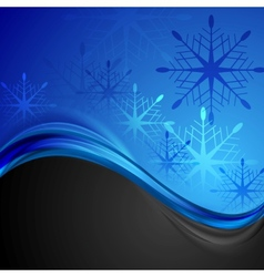 Abstract dark blue wavy Christmas background vector