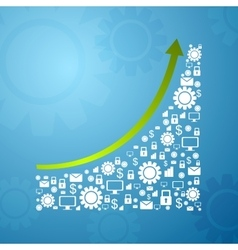 Abstract growing graph arrow with communication vector