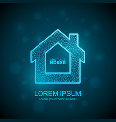 abstract house wireframe icon smart home vector image