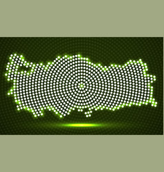 abstract turkey map of glowing radial dots vector image