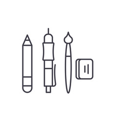 artist tools line icon concept artist tools vector image
