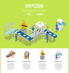 Assembly line isometric 3d poster vector