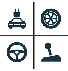 Automobile icons set collection plug drive vector