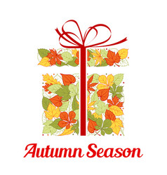 Autumn leaf in shape of gift box greeting card vector