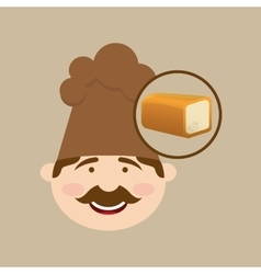 Baker holding a sliced bread vector