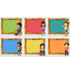 Banner design with many children vector