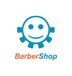 barber shop emblem design vector image