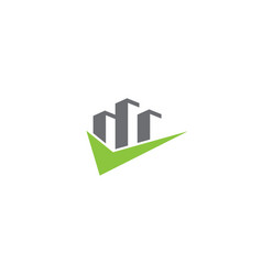 Big skyscrapers with a check mark for logo design vector