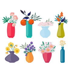 bouquets vases spring or summer flowers branches vector image