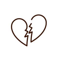 broken love heart romantic breakup relation vector image