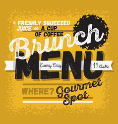 Brunch menu vintage influenced typographic poster vector