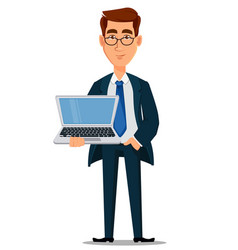 business man in formal suit holding powerful vector image