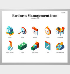 business management icons isometric pack vector image