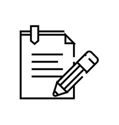 business notes line icon concept sign outline vector image