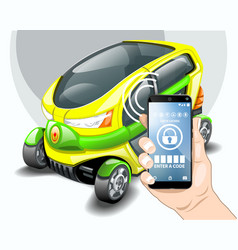 car phone control security system vector image