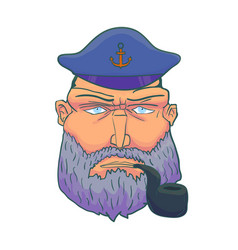 cartoon captain sailor face with beard cap vector image