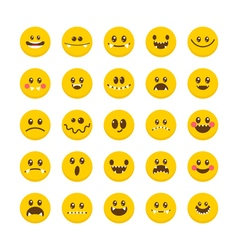 Cartoon faces with emotions Emoticon emoji icons vector image