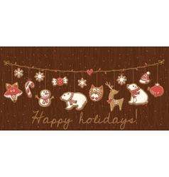 Christmas cookies Garland set design vector image