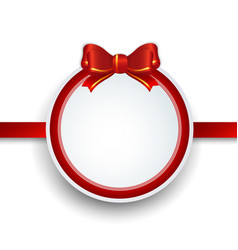 christmas gift frame with red ribbon and bow vector image