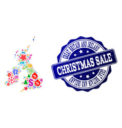 Christmas sale composition of mosaic map of great vector