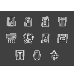 Climatic appliances white simple line icons vector image