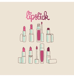 Collection of lipsticks and lip glosses vector